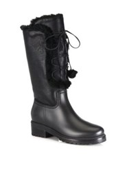 Stuart Weitzman Bearwear Leather And Faux Fur Lace Up Boots Black