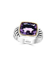 Effy Amethyst 18K Yellow Gold And Sterling Silver Ring