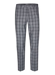 Topman Mid Grey Grey And Blue Check Skinny Fit Suit Trousers