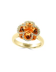Effy Faceted Citrine Inlay Ring Gold