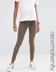 Asos Maternity Rivington Jean In Walnut Brown With Under The Bump Waistband Walnut Brown