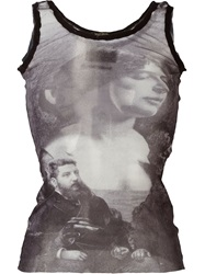 Jean Paul Gaultier Vintage Sheer Printed Tank Top Grey