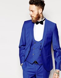 Noose And Monkey Suit Jacket With Shawl Lapel In Super Skinny Fit Blue