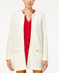 Charter Club Wool Zip Front Duster Cardigan Only At Macy's Vintage Cream