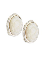 Stephen Dweck Carved Mother Of Pearl And White Quartz Earrings Silver