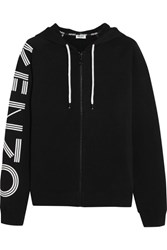 Kenzo Printed Cotton Jersey Hooded Top Black