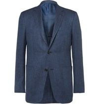Ermenegildo Zegna Blue Slim Fit Slub Cashmere Silk And Hemp Blend Jacquard Blazer Blue