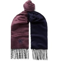 Canali Silk And Cashmere Blend Scarf Burgundy