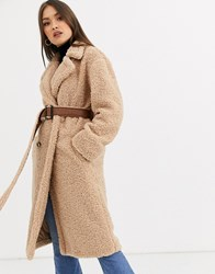 Neon Rose Maxi Coat In Teddy With Faux Leather Belt Beige