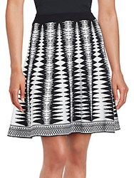 Saks Fifth Avenue Black Geometric Print Skirt Black Bleach