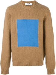 Msgm Square Print Jumper Nude And Neutrals