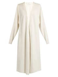 Ryan Roche Long Line Cashmere Cardigan White