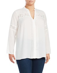 Jones New York Plus Long Sleeve Lace Top White
