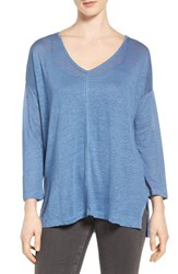 Vince Camuto Women's Two By Seam Detail Linen Tee