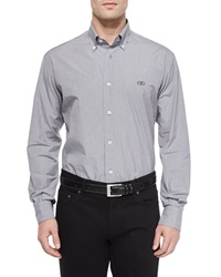 Salvatore Ferragamo Gancini Detail Plaid Sport Shirt Black White