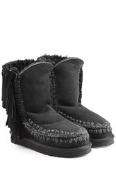 Mou Eskimo Short Sheepskin Boots With Fringe Black