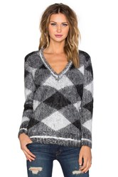 525 America Argyle V Neck Sweater Black And White