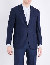 Canali Regular Fit Prince Of Wales Check Wool Jacket Bright Blue