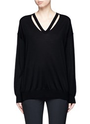 Alexander Wang Cut Out V Neck Merino Wool Sweater Black