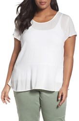 Sejour Plus Size Women's Peplum Tee Ivory Cloud