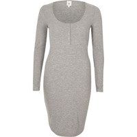 River Island Grey Ribbed Long Sleeve Bodycon Dress