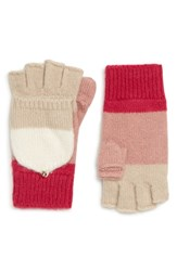 Kate Spade New York Brushed Knit Colorblock Pop Top Mittens Cream Oatmeal Peony Begonia