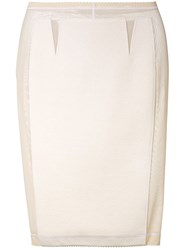 Paco Rabanne Mesh Insert Pencil Skirt Nude And Neutrals