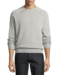 Penguin Feeder Stripe Crewneck Sweater Gray