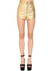 Saint Laurent High Waist Leather Shorts Gold