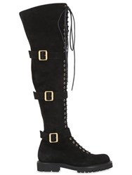 Alexandre Vauthier 30Mm Buckled Suede Over The Knee Boots