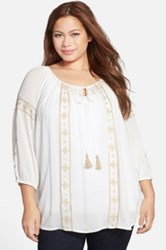 Daniel Rainn Embroidered Peasant Blouse Plus Size Beige
