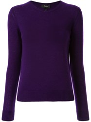 Theory Round Neck Jumper Purple