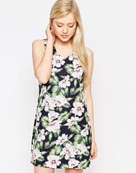 Style London Dress In Tropical Floral Print Blue