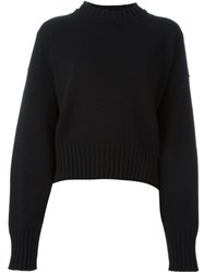 Jil Sander Cropped Oversized Jumper Black