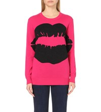 Markus Lupfer Big Smacker Lip Metallic Knit Jumper Hot Pink Black