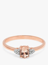 A B Davis 9Ct Rose Gold Morganite And Diamond Cluster Engagement Ring