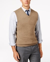 Club Room Men's V Neck Cashmere Sweater Vest Created For Macy's Dark Natural Heather