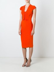 Antonio Berardi Scallop Detail Dress Yellow And Orange