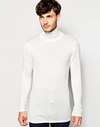 Asos Longline Jumper With High Neck White