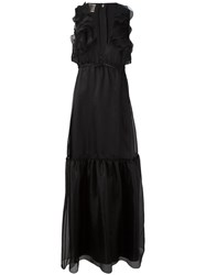 Giambattista Valli Ruffled Plunge Dgown Women Silk 42 Black