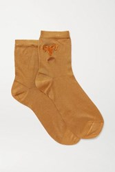 Maria La Rosa Aries Embroidered Silk Blend Socks Brown