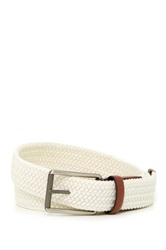 Original Penguin Woven Elastic Leather Belt White