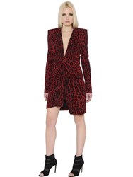 Alexandre Vauthier Leopard Printed Stretch Crepe Dress