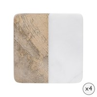 Amara Marble And Wooden Coasters Set Of 4