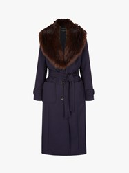 Four Seasons Faux Fur Collar Coat Purple