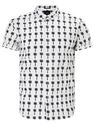 Scotch And Soda Short Sleeve Palm Print Shirt White