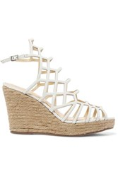 Schutz Marlyn Leather Wedge Sandals White