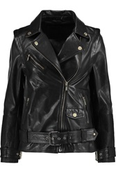 Karl Lagerfeld Holly Textured Leather Jacket Black