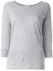 The White Briefs Three Quarters Sleeved T Shirt Grey
