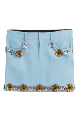 Ungaro Embellished Leather Skirt